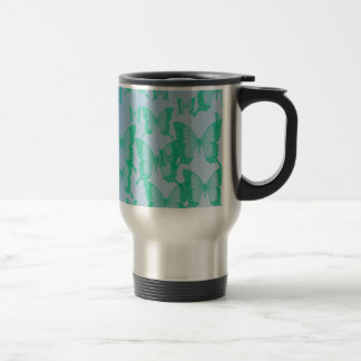 green butterflies in blue background travel mug