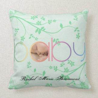 Green Butterfly Baby Keepsake Pillow