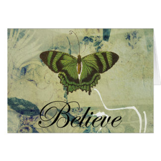 Green Butterfly Believe Greeting Card Blank 5x7