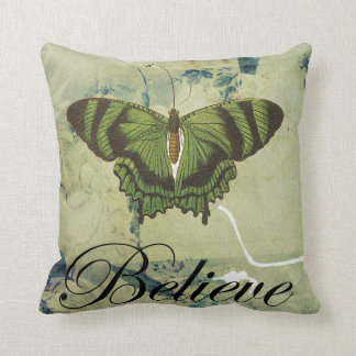 Green Butterfly Believe Throw Pillow