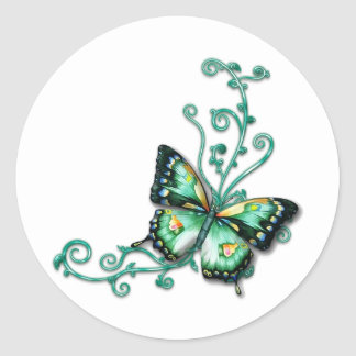 green butterfly classic round sticker