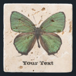 "Green Butterfly Custom Stone Coaster<br><div class=""desc"">Pretty stone coaster with digital graphics of a green and brown butterfly.  Distressed black text reads whatever you want it to say.  Makes a lovely gift idea.</div>"