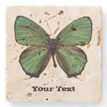 Green Butterfly Custom Stone Coaster