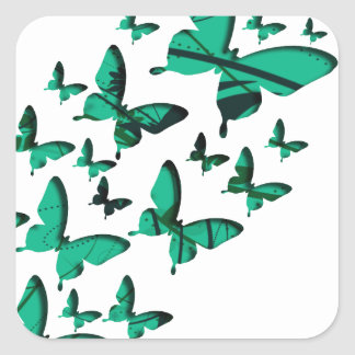 Green Butterfly Cutouts Square Sticker