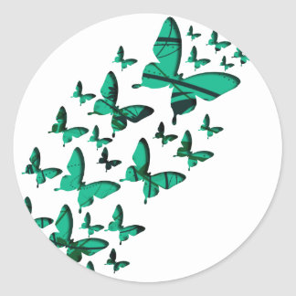 Green Butterfly Cutouts Classic Round Sticker