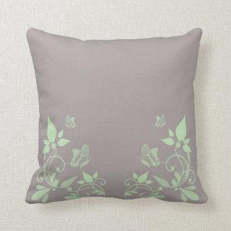 Green Butterfly Floral Pillow