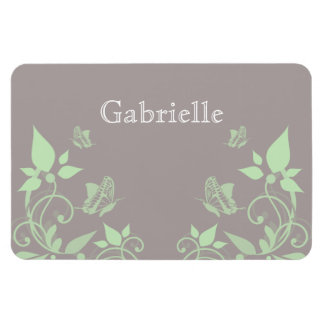 Green Butterfly Floral Premium Magnet