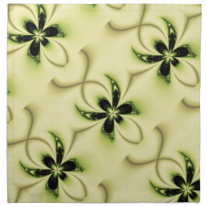 Green Butterfly Fractal Cloth Napkins