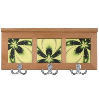 Green Butterfly Fractal Coat Rack