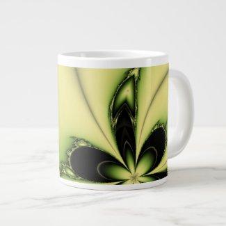 Green Butterfly Fractal Extra Large Mugs