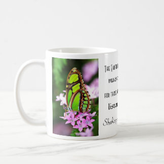 Green Butterfly Frog in Rose Shakespeare Quote Mug