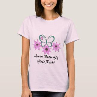 Green Butterfly Girls Rock! T-Shirt