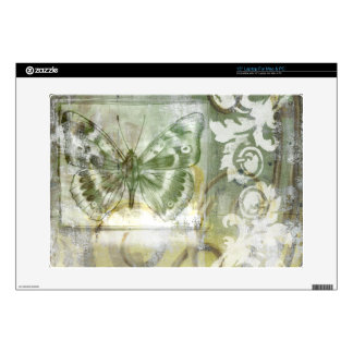 Green Butterfly Inset with Ironwork Gate Decal For Laptop