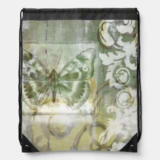 Green Butterfly Inset with Ironwork Gate Drawstring Backpack