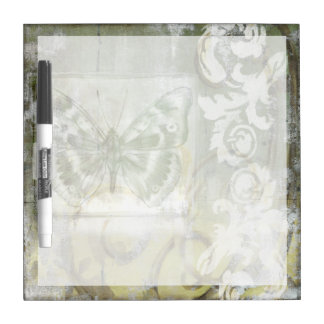 Green Butterfly Inset with Ironwork Gate Dry-Erase Board