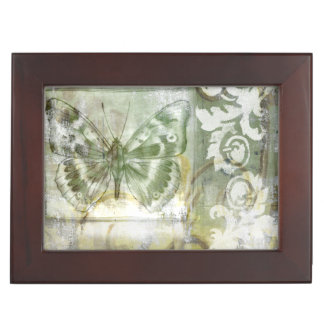 Green Butterfly Inset with Ironwork Gate Memory Box