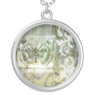 Green Butterfly Inset with Ironwork Gate Round Pendant Necklace