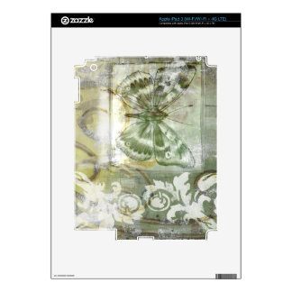 Green Butterfly Inset with Ironwork Gate Skins For iPad 3