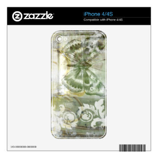 Green Butterfly Inset with Ironwork Gate Skins For iPhone 4