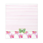 Green Butterfly Lined Notepad Pink Floral Art