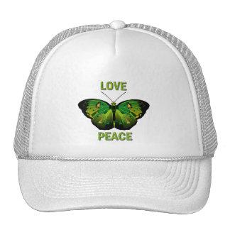 GREEN BUTTERFLY - LOVE - PEACE TRUCKER HAT