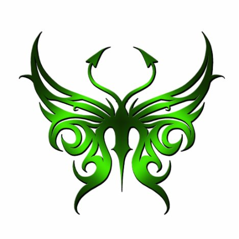 Green butterfly magnet. cutout