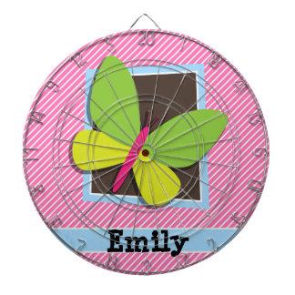 Green Butterfly on Pink & White Stripes Dartboard