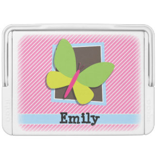 Green Butterfly on Pink & White Stripes Igloo Drink Cooler