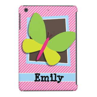 Green Butterfly on Pink & White Stripes iPad Mini Cases
