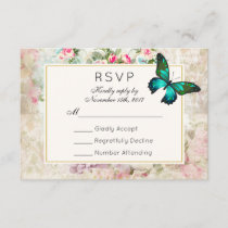 Green Butterfly on Vintage Collage Wedding RSVP