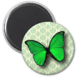 Green Butterfly on Vintage Pattern 2 Inch Round Magnet