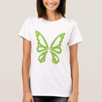 Green Butterfly on White Women's Basic T-Shirt