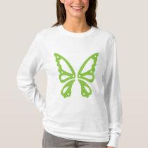 Green Butterfly on White Women's Long Sleeve T-Shirt