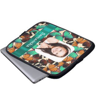 Green butterfly pattern photo template laptop sleeve