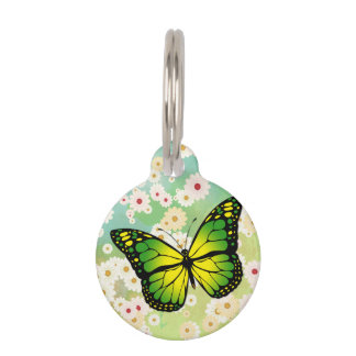 Green butterfly pet name tag