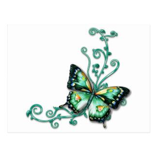 green butterfly postcard