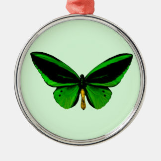 Green Butterfly Round Ornament