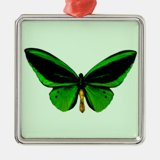 Green Butterfly Square Ornament