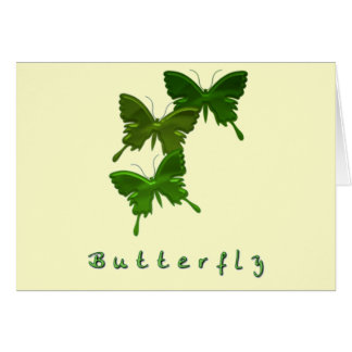 Green Butterfly Trio Greeting Card
