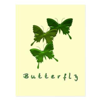 Green Butterfly Trio Postcard