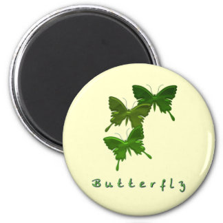 Green Butterfly Trio Round Magnet Refrigerator Magnets