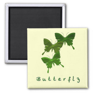 Green Butterfly Trio Square Magnet Refrigerator Magnet