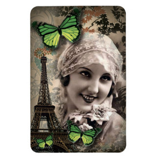 Green Butterfly Vintage Girl Paris Eiffel Tower Magnet
