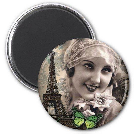 Green Butterfly Vintage Girl Paris Eiffel Tower Magnet
