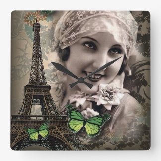 Green Butterfly Vintage Girl Paris Eiffel Tower Square Wall Clock