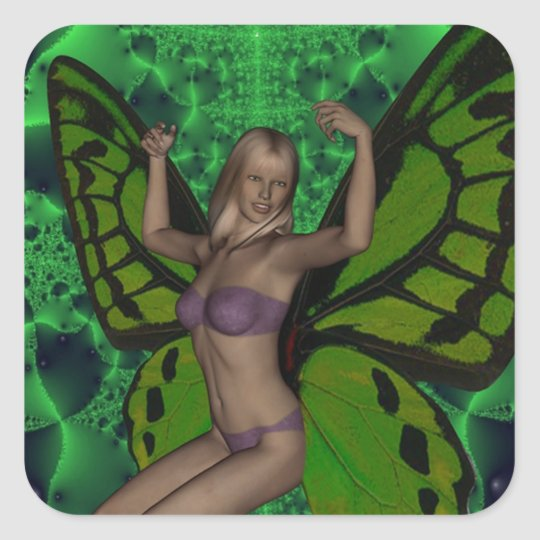 GREEN BUTTERFLY WOMAN SQUARE STICKER
