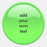 green button classic round sticker