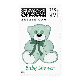 Green Button Eyed Teddy Bear Baby Shower Postage