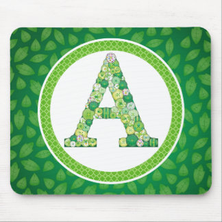 Green Button Letter A Mouse Pad