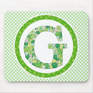 Green Button Letter G Mouse Pad